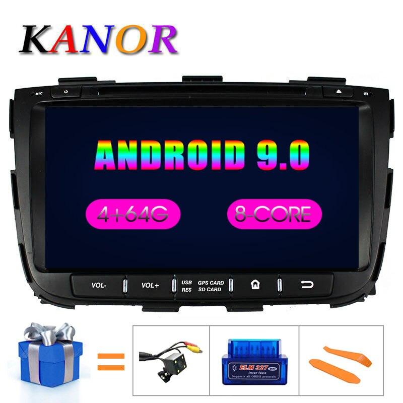 Kanor octa núcleo ips android 9.0 ram 4g 32g rom 2 din rádio do carro para kia sorento 2013 gps rádio wifi bluetooth mapa de áudio usb