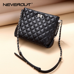 NEVEROUT Classic Lattice Hobos Bags for Women Sheepskin Genuine Leather Ladies Cross-body Bag Quilted Shoulder Bag Sac Black