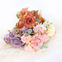 6 köpfe Rose Rosa Seide Pfingstrose Künstliche Blumen Bouquet Billig Gefälschte Blumen für Home Garten Wohnzimmer DIY Hochzeit Dekoration