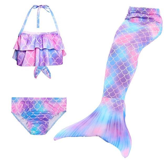 3 pçs/crianças sereia caudas para natação pequena sereia meninas maiô biquíni conjunto festa trajes cosplay não flipper