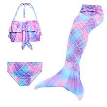 3pcs/Bambini Sirena Code per il Nuoto Little Mermaid Ragazze Costume Da Bagno del Bikini Set Costume Da Bagno Costumi Del Partito di Cosplay No flipper