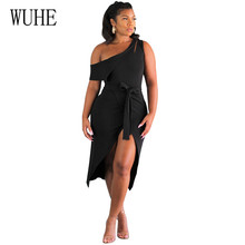 WUHE Sexy Irregular Shoulder Straps Split-length Dress Women Vestidos Female Black Hollow Out Night Club Elegant