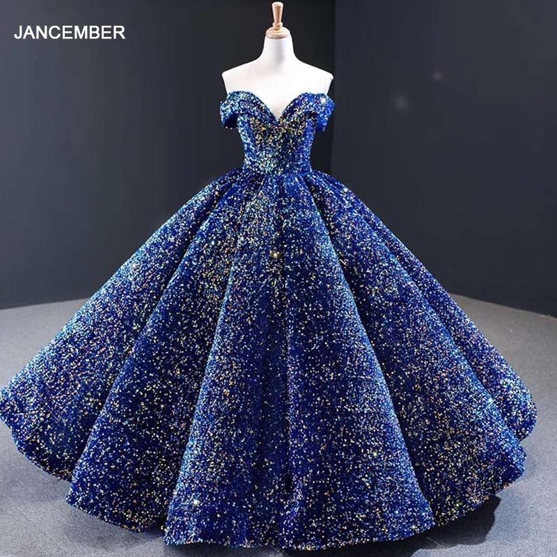 J66991 Jancember Quinceanera Dresses 2020 Sweetheart Off Shoulder Ball Gown Sequin Plus Size Ball Gown Vestidos De Quinceaneras