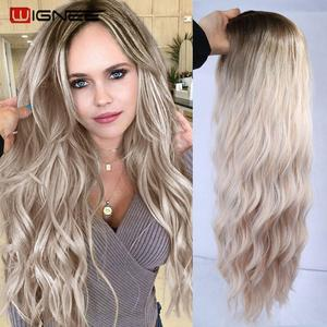 Image 2 - Wignee Ombre Long Wavy Heat Resistant Synthetic Wig For Women Black to Blond American Cosplay/Party Middle Part Natural Hair Wig