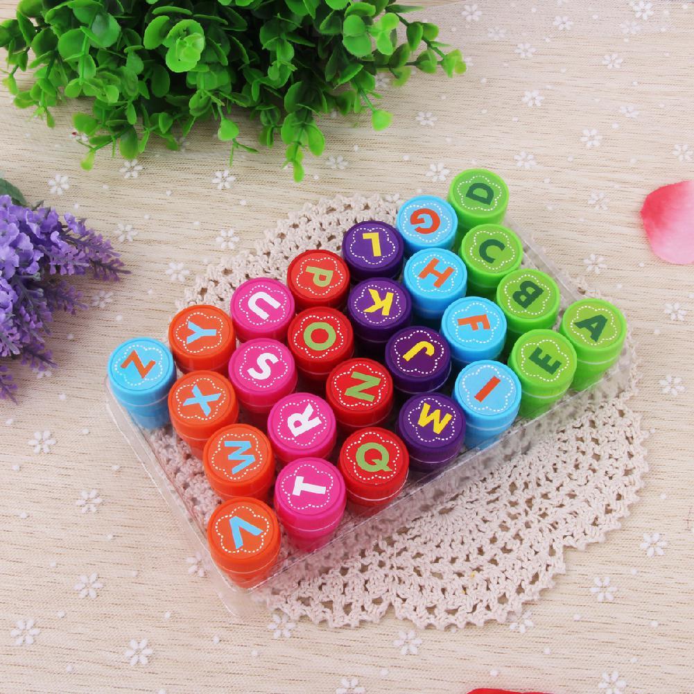 Kuulee 26Pcs/Set Rubber Stamp Set Kids Funny Plastic Self Inking Stamper Toys Baby DIY Crafts