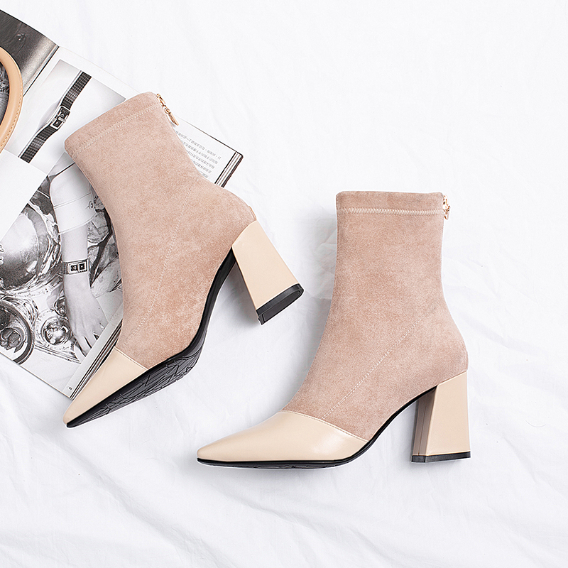Elegant Pointed Toes Boots Women Ankle Boots Fashion High Heel Boots Ladies Autumn And Winter Boots 2019 New Warm Plush SexyBoot