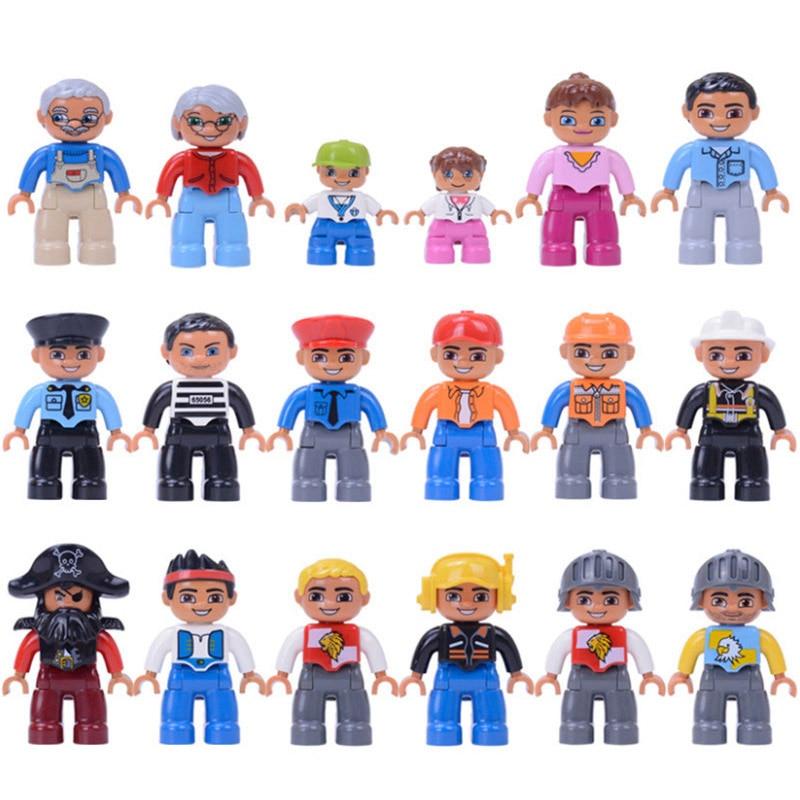 Фигурки, блоки Duplo, полицейские фигурки, 6 шт., поезд, строительные блоки, развивающие игрушки для малышей
