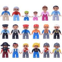 Figuras de ação blocos duplo polícia figuras 6pcs blocos de construção do trem brinquedos educação para o bebê