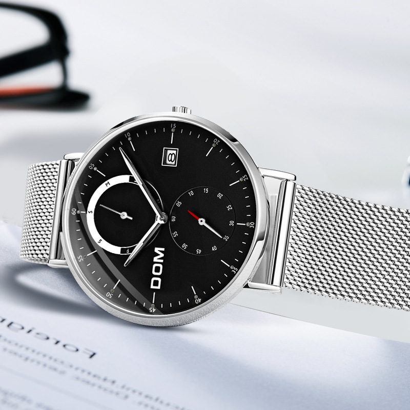 Dom DOM Men Europe And America Fashion Mesh Belt Calendar MEN'S Watch Waterproof Quartz Watch M-436d-1m