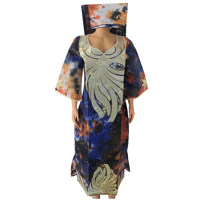 MD Embroidery African Dresses Women Bazin Riche Cotton Dress Dashiki Women Robe Kaftan Lady Long Dresses Wedding Party Clothes