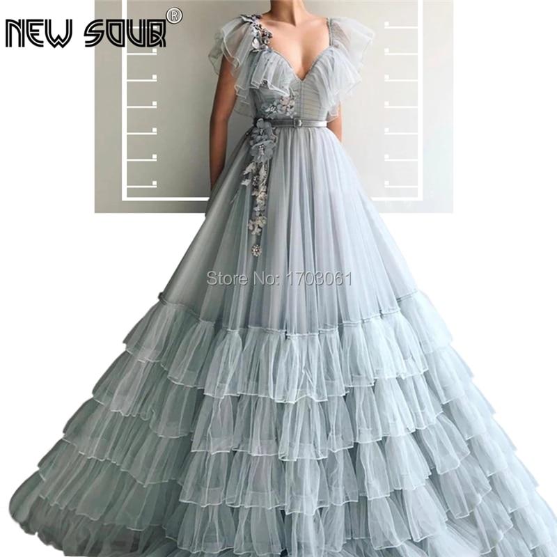 Gray Tiered Formal Evening Dresses New Saudi Arabic Robe De Soiree 2019 Dubai V Neck Party Gown Prom Dress Kaftans Custom Made