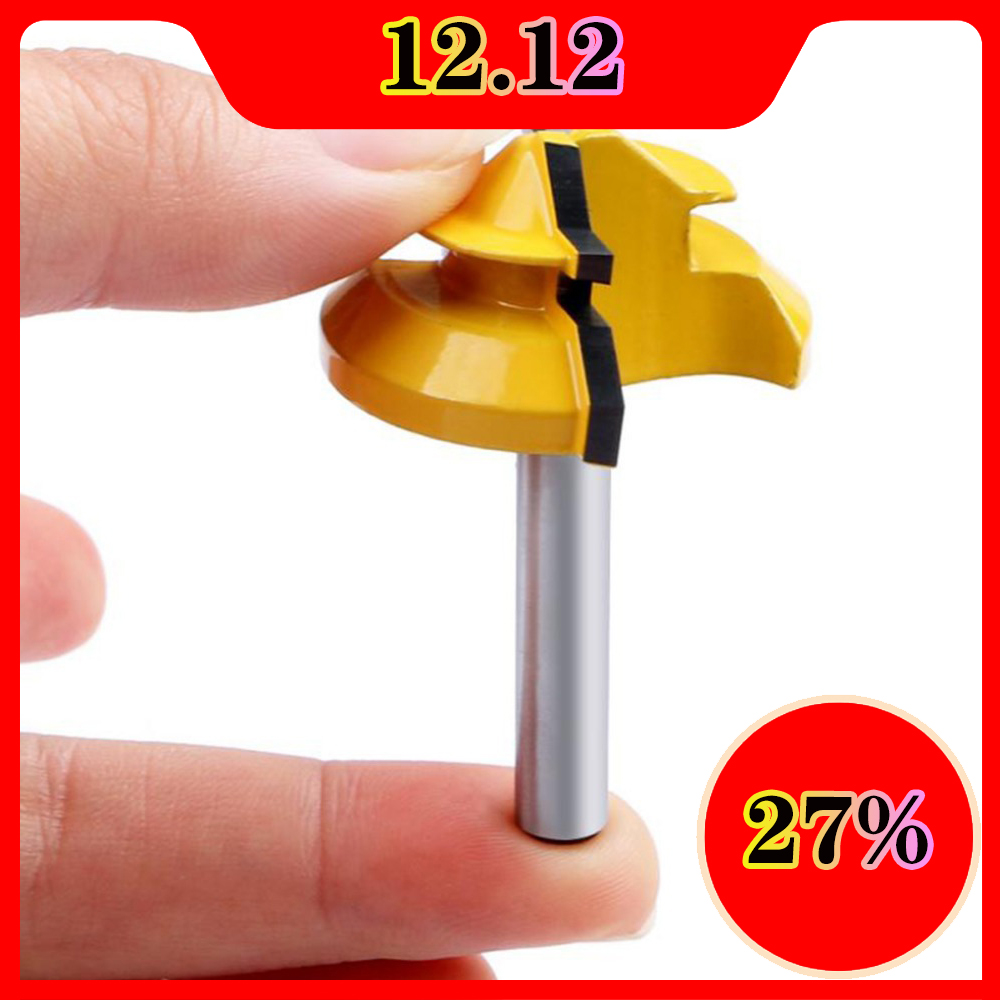 Milling Cutter 45 Degree Knife Wood Cutters Hand Tool Lock Miter Router Bit Shank Woodworking Tools Drilling Wood Carbide Alloy