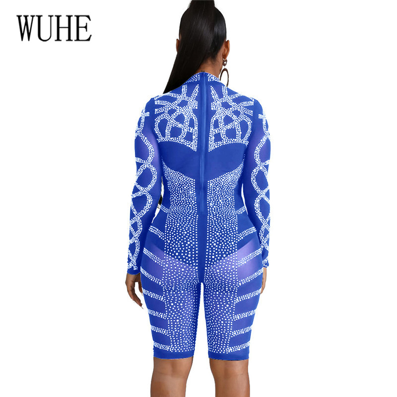 WUHE Rompers for Women Sequin Rhinestone Jumpsuits Diamond See Through Mesh Playsuits Long Sleeve Skinny Clubwear Party Wear