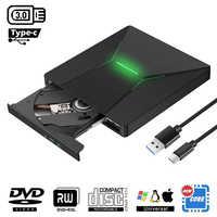 KuWfi USB 3.0 Tipo C Portatile Ad alta velocità DVD +/RW Burner Con La Luce Colorata Lettore DVD Dirve per Macbook/Finestra del SISTEMA OPERATIVO Del Computer