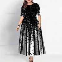 Plus Size Women Half Sleeve Elegant Round Neck Boho Bandage Print Long Maxi Dress Ladies Bohemian Dress Elegant Ladies vestido