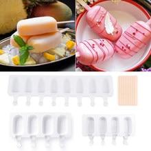 Molde de sorvete de silicone diy moldes de picolé caseiro freezer suco 4 célula tamanho grande ice cube bandeja picolé barril fabricante ferramenta molde