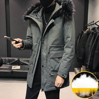 Causal Mens Down Jacket Fashion Winter Men Coat Thick Warm Male Down Coat Hooded White Duck Down Long Down Jacket Parka недорого