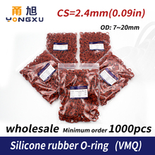 1000PCS/lot Red Silicon wholesale O-ring VMQ CS2.4mm Thickness OD7/8/9/10/11/12/13/14/15/16/17/18/19/20 O Ring Seal Rubber