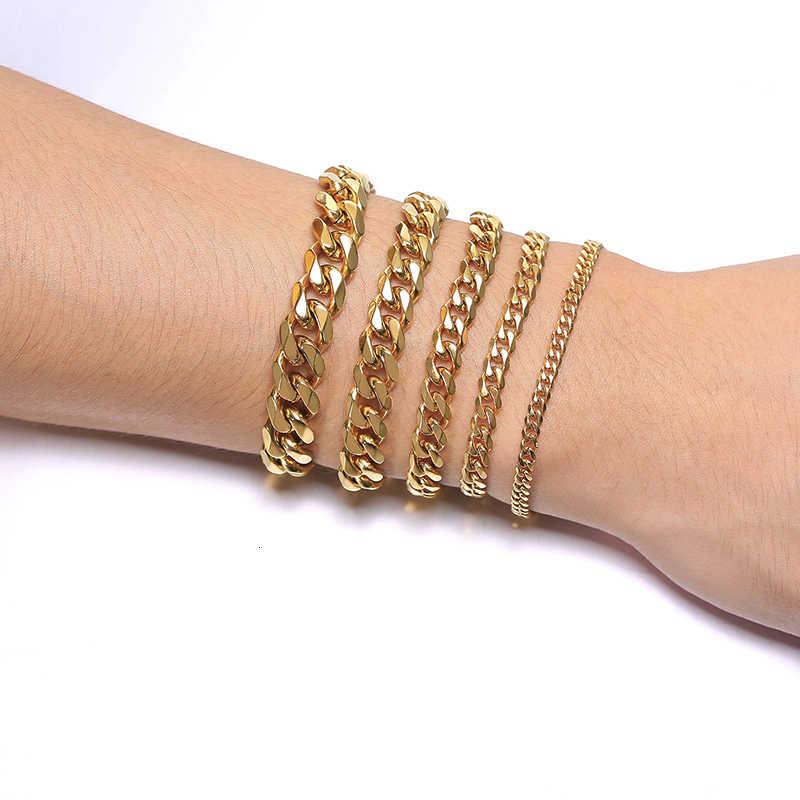 Vnox stałe bransoletki ze stali nierdzewnej dla kobiet mężczyzn srebrny czarny złoty Tone Metal Punk Casual Curb kubański Link Chain bransoletki