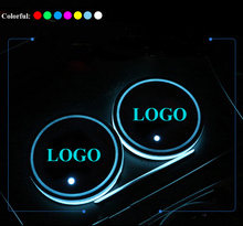 1Pair LED Car Cup Holder Pad Mat for HUMMER Hummer Automobiles Coasters Interior Atmosphere Lights Colorful