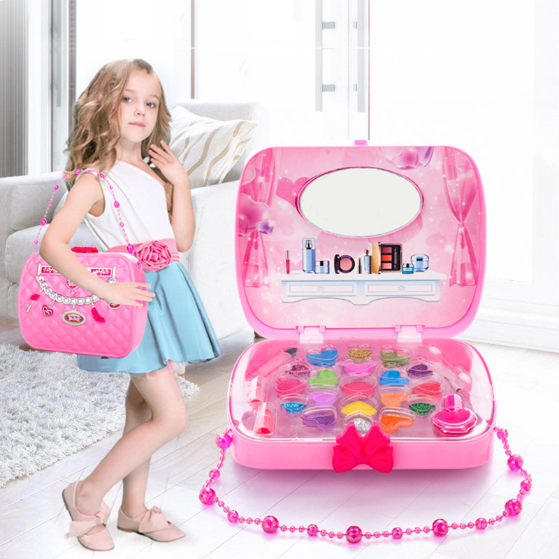 Kid Makeup Set Toys Suitcase Dressing Cosmetics Girls Toy Plastic Beauty Safety Pretend Play Children Girl Makeup Games Gifts