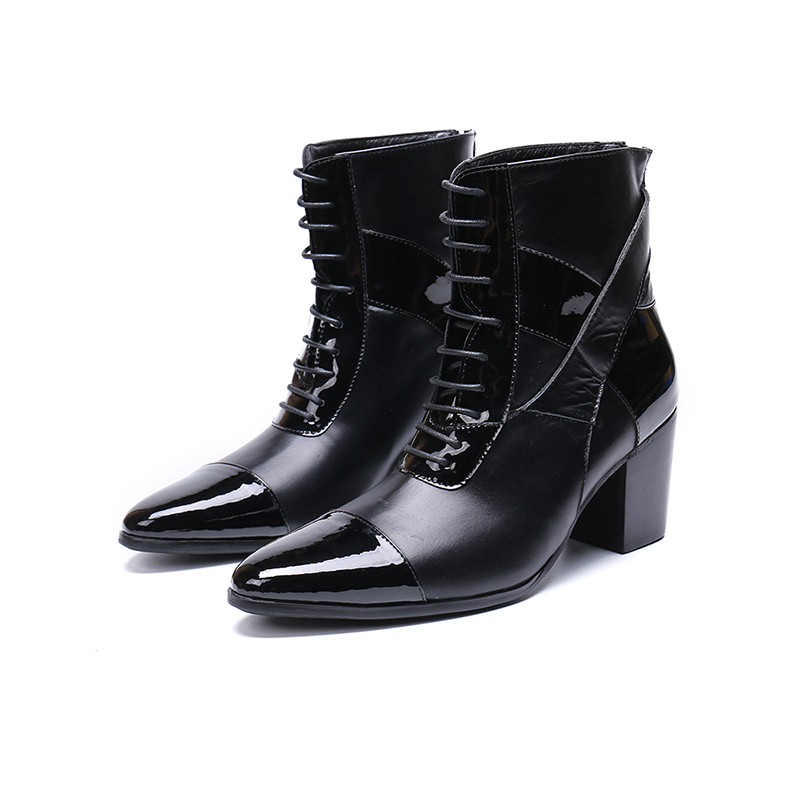 Genuine Leather High Heel Zip Lace-up Lankle Boots Fashion Black Glossy Oxford Pointed Toe Martin Boots Big Size 46