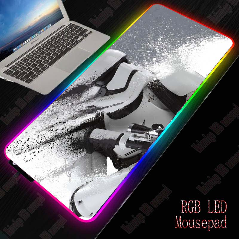 Mairuige Star Wars Large Gaming Mouse Pad Gamer Mousepad RGB Mouse Pad XXL Computer Mat LED Backlit Mat Mause Carpet Desk Mat