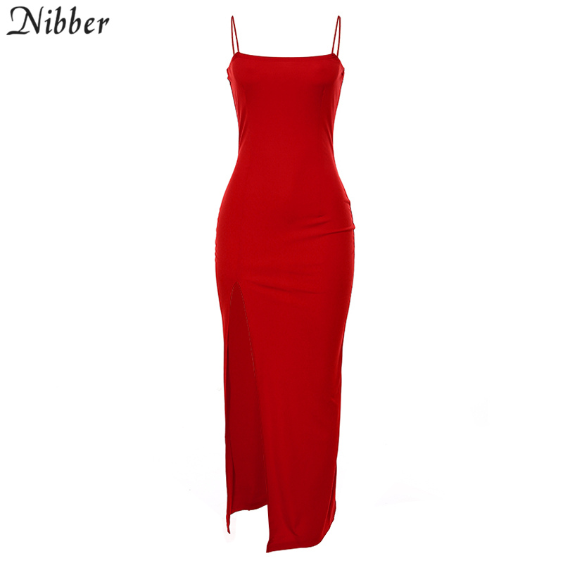 Nibber red black New year christmas party long dresses women 2020 spring new bodycon lace up stretch Slim Soft midi dress femme 8