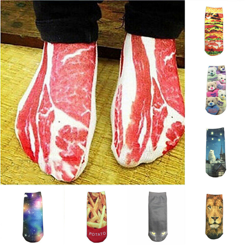 Funny 1Pair 3D Bacon Meat Printed Socks Unisex Low Cut Ankle Socks Warm Autumn Socks Party Clothes Decortaion