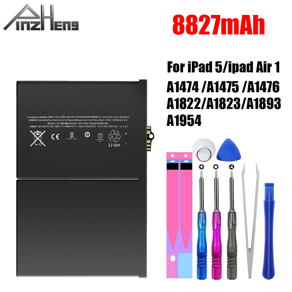PINZHENG 8827mAh Tablet Battery For IPad 5 Air 1 Replacement Bateria A1474 A1475 A1476 A1822 A1823 A1893 A1954 Battery With Tool