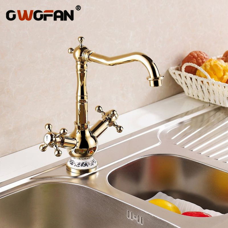 Kitchen Faucets 2 Cross Handle 360 Degree Swivel But and White Ceramic Gold Plating High Arch