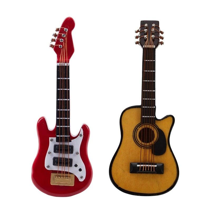 2 Pcs 1:12 Dollhouse Miniature Music Instrument Acoustic Guitar, A & B