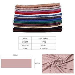 Image 3 - Jersey rughe hijab sciarpa in cotone tinta unita elasticità scialli piega hijab lungo musulmano testa wrap sciarpe/sciarpa 10 pz/lotto
