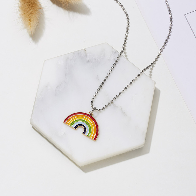Men Women Pride Rainbow Pendant Necklace Pride Lace Charming Pendant Long Chain Necklace New Fashion Couple Jewelry Accessories