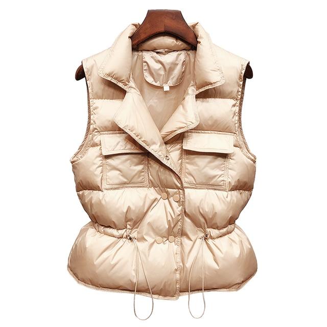 2021 New Ultra Light Down Vest Women Short Vest Windproof Lightweight Warm Waistcoat Female White Duck Down Down Coat Sleeveless 6