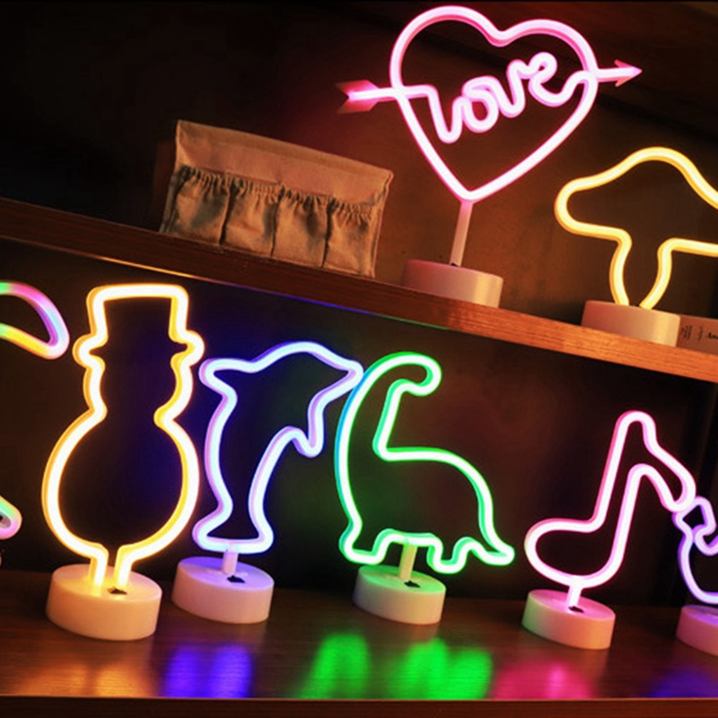 Cartoon Love LED Neon Sign Light Handcraft Party Wedding Home Decor LED Tube Light USB Power Desk Led Lamp Illumination Retro image