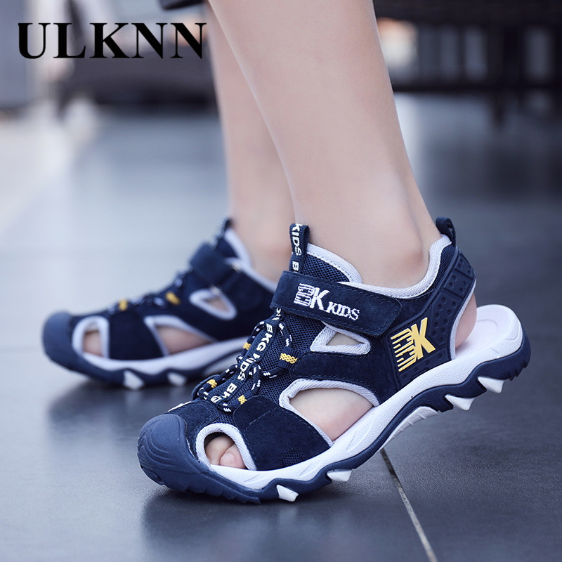 ULKNN BOY'S Closed-toe Sandals Summer 8 Anti-slip Soft-Sole Young STUDENT'S Sandals Boy 9 Big Boy 12-Year-Old