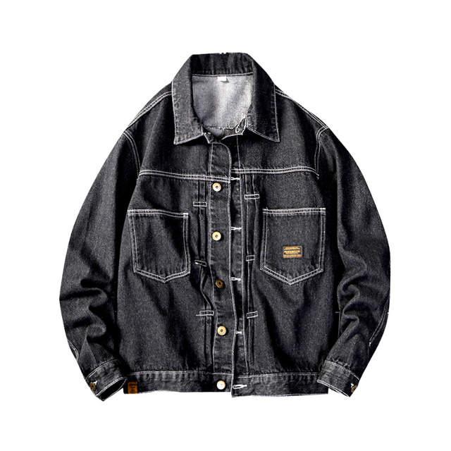 Japan Style męska jeansowa kurtka czarna kurtka dżinsowa hip