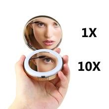 1 Pcs Women Led Foldable Make Mirrors Lady Cosmetic Hand Fold Portable Compact Pocket Mirror /10x Enlargement Glass Hd