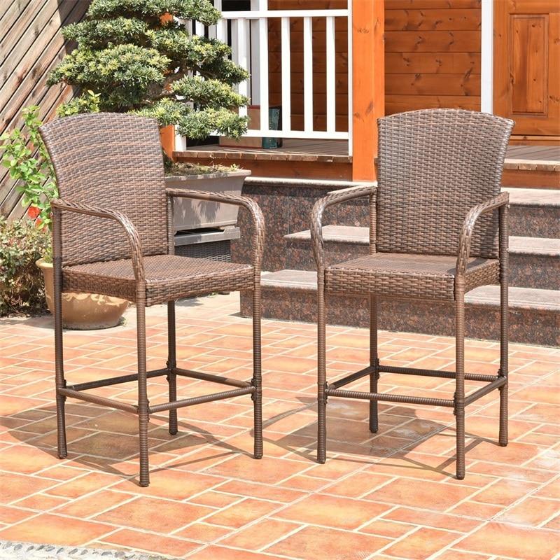 Set Of Two Outdoor Rattan Wicker Bar Chairs Garden Furniture Bar Chair Lightweight And Durable Beach Furniture