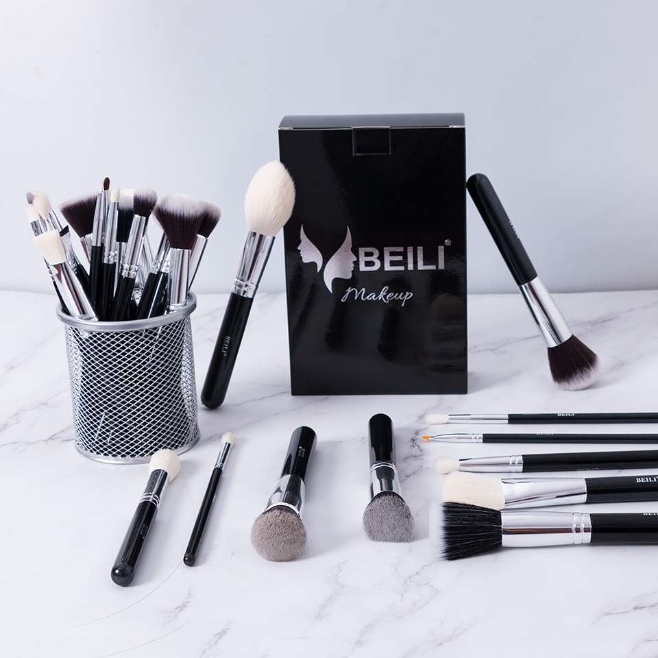 Image 5 - BEILI Black Complete Professional Natural goat hair Makeup Brushes set Foundation Powder Concealer Contour  Eyes Blending brush-in Eye Shadow Applicator from Beauty & Health