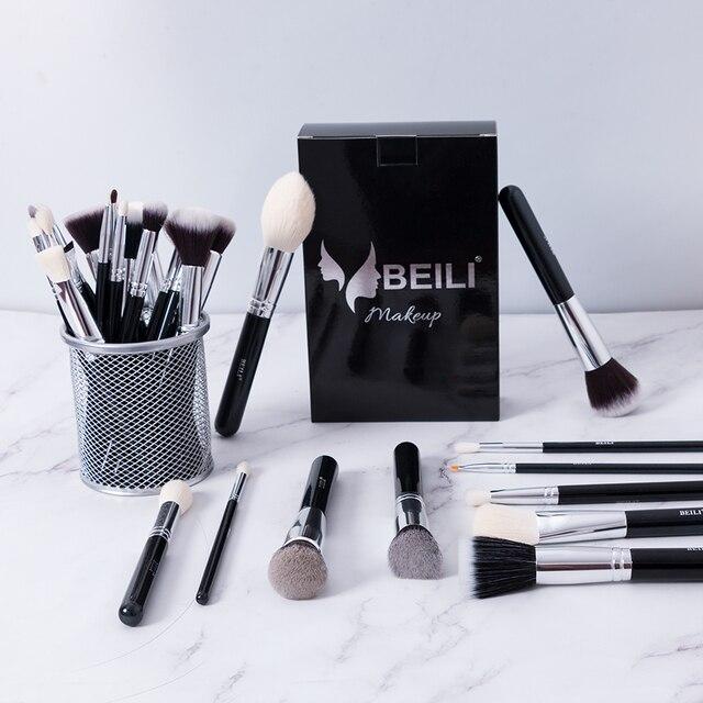 BEILI Black Complete Professional Natural goat hair Makeup Brushes set Foundation Powder Concealer Contour  Eyes Blending brush 5