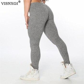 VISNXGI, Leggings elásticos de realce en la cadera para mujer, negro, gris claro, gris, ajustados, recién llegados, pantalones lisos con cintura elástica, Color XS-XL