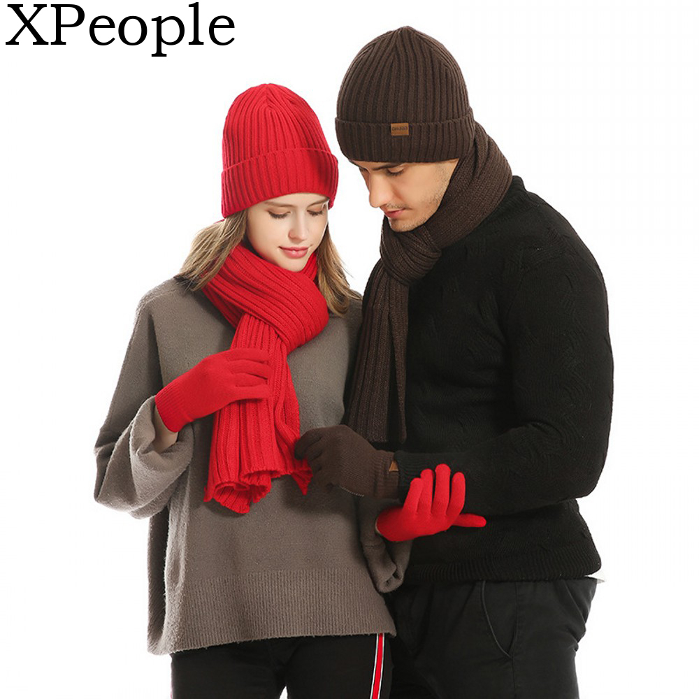 XPeople Winter Knit Beanie Hat Neck Warmer Scarf And Touch Screen Gloves Set 3 Pcs Fleece Lined Skull Cap For Men Women