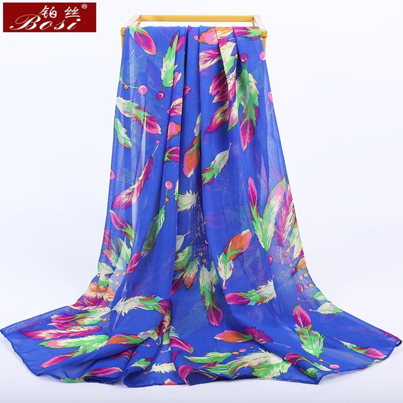 2020 New Fashion Chiffon Scarf Feather Print Women Bohemian Blue Summer Luxury Brand Multicolor Ladies Long Hijab Shawl Scarves