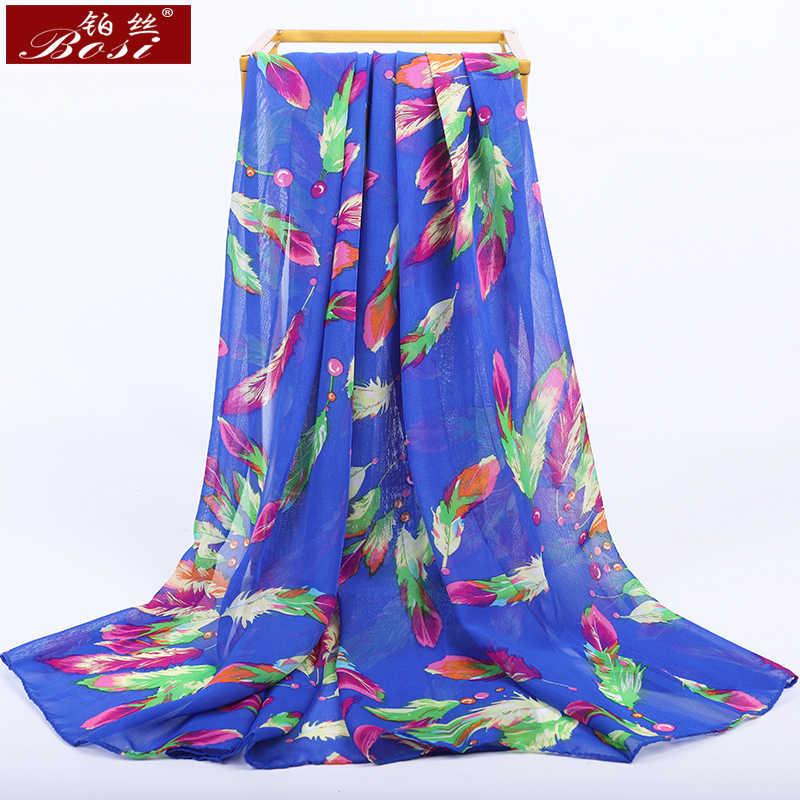 2020 חדש אופנה שיפון צעיף הדפסת נוצת נשים בוהמי כחול קיץ יוקרה מותג צבעים גבירותיי ארוך חיג 'אב צעיף צעיפים