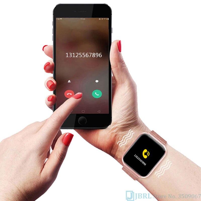 H7fca68d31ce24f179d19ab614567d171z 2021 Ladies Sport Bracelet Smart Watch Women Smartwatch Men Smartband Android IOS Waterproof Fitness Tracker Smart Clock Mens