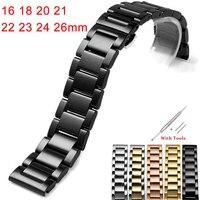Edelstahl Armband 16 18 20 21 22 23 24 26mm schmetterling schließe Armbänder Hohe Qualität Uhr Riemen Zubehör mit Werkzeuge