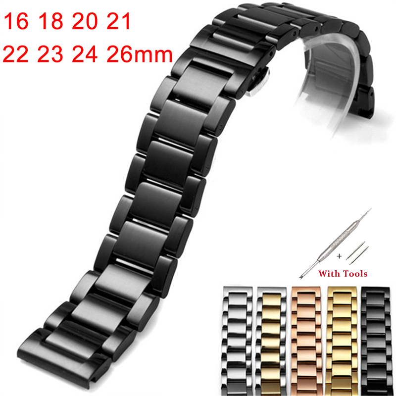 Stainless Steel Watchband 16 18 20 21 22 23 24 26mm butterfly clasp Wristbands High Quality Watch Straps Accessories With Tools