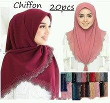 E4 20 ชิ้น/ล็อตคุณภาพสูงเลเซอร์ตัดชีฟอง Hijab ผ้าคลุมไหล่ผ้าพันคอผู้หญิงผ้าพันคอ/ผ้าพันคอ Lady shawl สามารถเลือกสี